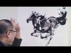 Chinese Horse Ink Painting by Master Artist Japanese Ink Painting, Sumi E Painting, Japanese Watercolor, Sketch Painting, Chinese Painting, Artist Painting, Chinese Art, Chinese Brush, Artist Materials