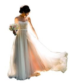 Ikerenwedding Womens Sheer Straps Lace Tulle Backless Beach Wedding Dress Bridal Gown ** For more information, visit image link.