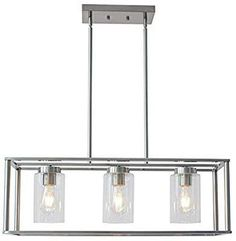 VINLUZ Brushed Nickel Chandeliers Contemporary Modern Dining Room Light Fixture Hanging with Clear Glass Shades Farmhouse Cage Linear Pendant Ceiling Light for Bar Kitchen Island Modern Dining Room Lighting, Farmhouse Pendant Lighting, Dining Room Light Fixtures, Bar Lighting, Kitchen Lighting, Ceiling Light Bar, Ceiling Lights, Contemporary Chandelier, Modern Contemporary