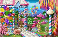 Fantasy candy garden and gazebo made with photo-realistic illustration of candy by Malane Newman.