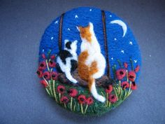Handmade needle felted brooch 'Cuddling Under a Starry Sky' by Tracey Dunn