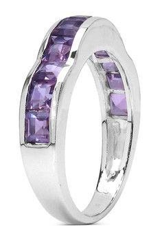 Olivia Leone Sterling Silver Channel Set Princess Cut Amethyst Scalloped Band