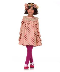 Love this Beige Polka Dot Babydoll Dress & Pink Leggings - Toddler & Girls on #zulily! #zulilyfinds