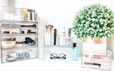 Head to my blog to see all the new and fun ways to organize your bathroom! Bathroom Organization, Makeup Organization, Organizing Hair Accessories, The Home Edit, Closet Shelves, Small Spaces, Organize, About Me Blog, Fun