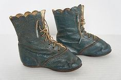 Pair of fancy blue 19th C. child's shoes