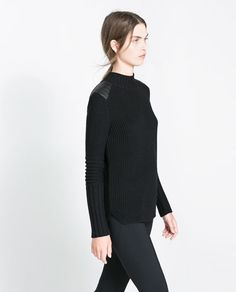 SWEATER WITH FAUX LEATHER APPLIQUÉS from Zara