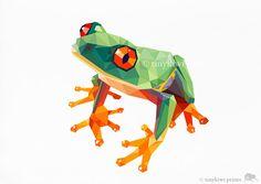 Frog Geometric design Garden art Children's room by tinykiwiPrints