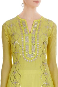 Latest Collection of Kurta Sets by Gopi Vaid Latest Embroidery Designs, Kurti Embroidery Design, Embroidery Suits, Embroidery Fashion, Hand Embroidery, Kurta Designs, Blouse Designs, Latest Kurti Designs, Designer Punjabi Suits