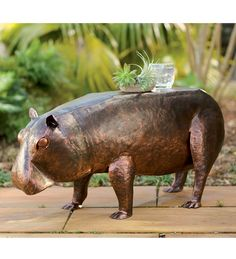 Recycled Metal Baby #Hippo Side Table #GrandGardens