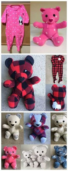 DIY Keepsake Memory Teddy Bear from Baby Clothes - Stofftiere,Kuscheltücher und Co - Baby Diy Sewing Hacks, Sewing Crafts, Sewing Tips, Sewing Tutorials, Sewing Ideas, Sock Crafts, Sewing Projects For Beginners, Fabric Scraps, Diy Clothes