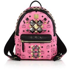 MCM Stark Brock Studded Faux Leather Backpack ($795) ❤ liked on Polyvore featuring bags, backpacks, apparel & accessories, pink faux leather backpack, pink studded backpack, vegan bags, pocket backpack and vegan leather bags
