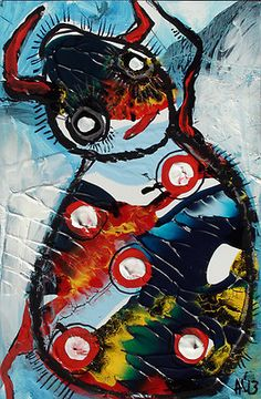 Original LABEDZKI Abstract Painting Outsider Art Spotted Beetle 5 5x8 5 Inches | eBay
