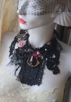 Tango Notturno delicate bold antique silk and jet by FleursBoheme