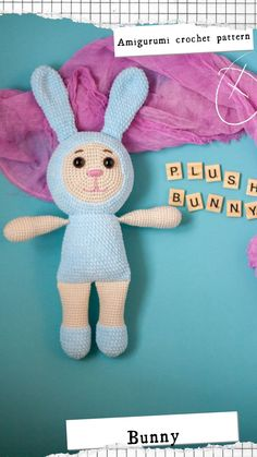Newborn Crochet Patterns, Crochet Bunny Pattern, Crochet Rabbit, Easy Crochet Patterns, Crochet Patterns Amigurumi, Cute Crochet, Crochet For Kids, Crochet Toys, Crochet Ideas