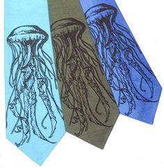 Sea Nettle Jellyfish Silk Tie by jesswitaj on Etsy, $30.00