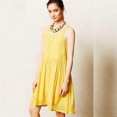 Anthropologie Lilka Yellow Lace Matepe Dress