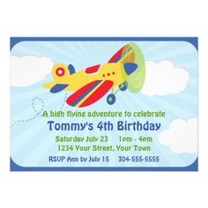 Colorful Airplane Birthday Party Personalized Invitations