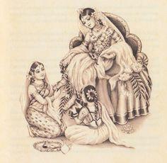 Srimati Radharani Krishna Lila, Baby Krishna, Radha Krishna Pictures, Radha Krishna Love, Radhe Krishna, Radha Rani, Pichwai Paintings, Indian Paintings, Lord Krishna Sketch