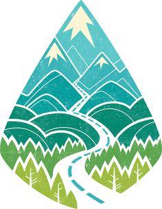 'The Road Goes Ever On: Summer' Sticker by Wayne Minnis Web Design, Logo Design, Graphic Design, Badge Design, Editorial Illustration, Zentangle, Trendy Tattoos, Summer Art, Sleeve Tattoos
