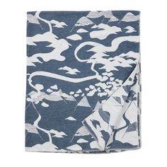 Mountains Smokey Blue Organic Cotton Blanket