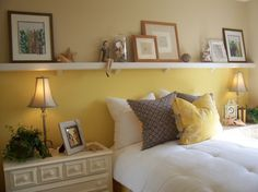 Picture ledge instead of headboard.