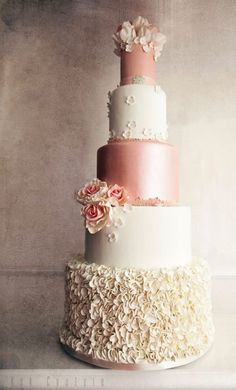 Romantic five tier pink and white wedding cake; Featured Cake: Kek Couture