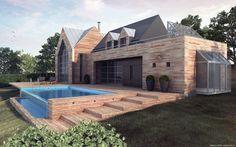 Maison Ossature Bois Haut de gamme. Normandie et IdF. Patrick-E. COPPIN architect. Tél: 06 34 61 04 03. (sur Rendez-vous).