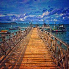A pier in the islands Komodo, Flores Indonesia. Through this bridge, you can see Komodo Dragon \m/