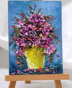 Lavender Flowers Original miniature oil painting. Textured with layers of oil paints.