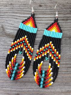 nice Native American  Black, Multi Colored Beaded Earrings by post_link                                                                                                                                                                                 More