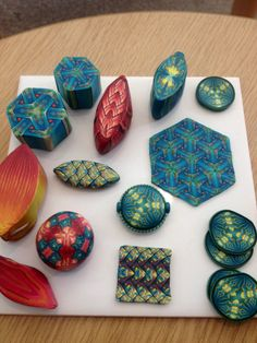 Pieces from a Sarah Shriver workshop run by the London Polymer Clay Group.