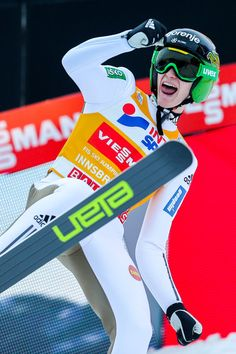 Peter Prevc Photos Photos - (FRANCE OUT) Peter Prevc of Slovenia takes 1st place during the FIS Nordic World Cup Four Hills Tournament on January 3, 2016 in Innsbruck, Austria. - 64th Four Hills Tournament - Innsbruck Day 2