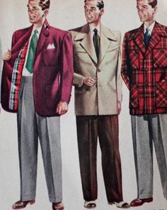 1950s men's fashion was dominated by casual wear. Sportcoats in big prints and heavy textures led the way. Learn more at VintageDancer.com