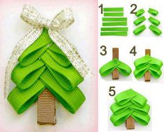 ribbon Chistmas tree. Glue it on a clothes pin so you can put it on your tree. And also put a magnet on the back of it to put it on your fridg. to hold kids Christmas art!