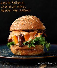 WANT!! Roasted Butternut Squash Slider with Balsamic Caramelized Onions & Sriracha Mayo. #healthy #vegan
