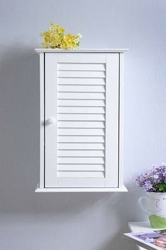amazoncom hc057 wall cabinet with louvered door bathroom wall