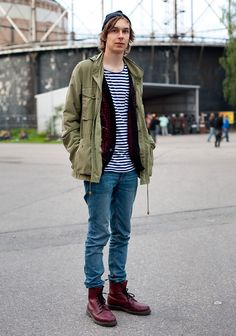 """Niclas, 22    """"My second hand Fjällräven jacket is a true find, the cardigan is second hand, too, the jeans by Cheap Monday and the Dr Martens boots I bought online.  Winos and bums have a great style: random and relaxed. All things abnormal and crazy look good. When your outfit makes you laugh, you have a good style."""""""