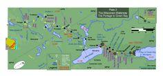 Carte détaillée du portage rivière des Renards vers rivière Wisconsin. Attention le Nord est a droite de la carte