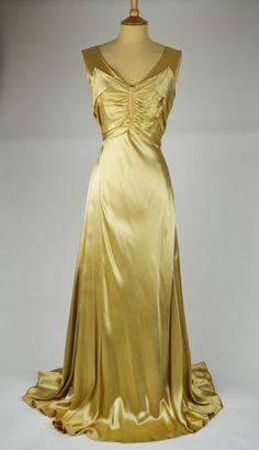 1930s Vintage Wedding Dress Pale Gold Oyster Silk Satin