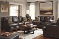 Corvan - Antique - Sofa & Loveseat | 69103/38/35 | Leather Living Room Groups | Room by Room Furniture
