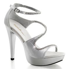 Womens Sensational Silver Dress Shoes with Rhinestone Detail and 5 Inch Heels -- Details can be found by clicking on the image.