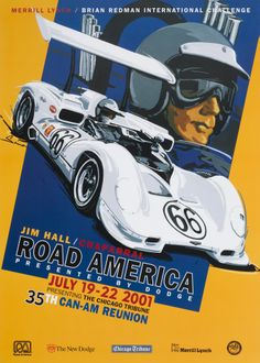 Road America Vintage Racing Poster, Jim Hall, Chaparral, Can Am, by © Dennis Simon. This poster is available at centuryofspeed.com