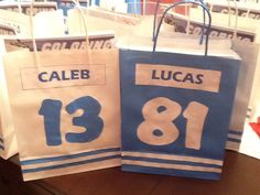 Hockey themed loot bags I made for my son's 6th birthday.