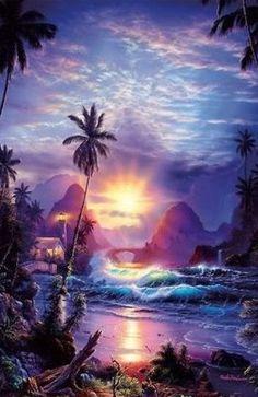 Christian Riese Lassen Art For Sale - 241 Listings Fantasy Landscape, Fantasy Art, Seascape Art, Tropical Art, Surf Art, Jolie Photo, Ocean Art, Beach Art, Sunset Beach