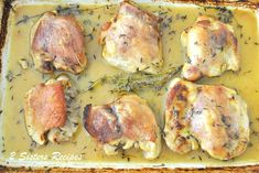 Chicken Thighs with Lemon, Garlic & Thyme - 2 Sisters Recipes by Anna and Liz Chicken Wine, Chicken Feed, Baked Chicken, Chicken Recipes, Lemon Garlic Chicken Thighs, Bone In Chicken Thighs, Cooking Recipes, Sisters, Anna