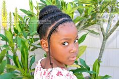 Double Cornrowed Updo with Sock Bun and Protective Bang | Chocolate Hair / Vanilla Care