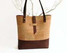 Großen Eco-Friendly Cork Bag natürliche vegane von MyCottonHouse