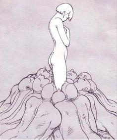 "Illustration by Jean Giraud ""Mobius"" Jean Giraud, Art And Illustration, Illustrations, Moebius Artist, Foto Blog, Comic Artist, Erotic Art, Oeuvre D'art, Graphic Art"