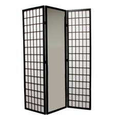 Ore 3-Panel Black Finish Mirror Room Divider N1026-3-BLACK - Ore International 3-Panel Black Finish Mirror Room Divider N1026-3-BLACKA room divider with a little reflection, this design features three panel screens with mirrored panel in the middle. Use as a room divider and let the screen bring light and color into your decor.SKU: N1026-3-BLACKManufacturer: Ore InternationalFinish: BlackUPC: 854570007835Dimensions: 47 W x 10 D x 70.25 H Inches, Weight: 29 LbsCarton Dimensions: 73 W x 20 D…