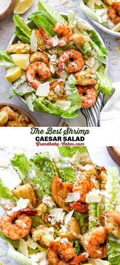 Lettuce Salad Recipes, Shrimp Salad Recipes, Seafood Salad, Salad Recipes For Dinner, Dinner Salads, Avocado Recipes, Healthy Salad Recipes, Lunch Recipes, Salad With Romaine Lettuce